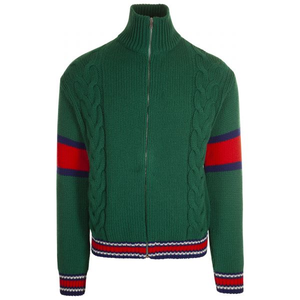 Gucci Cable Knit Webbed Zip Up Knitwear