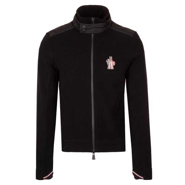 Moncler Grenoble High Neck Logo Zip Up Fleece Jacket