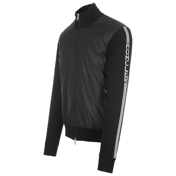 Moncler Quilted Nylon Front Zip Up Knitwear